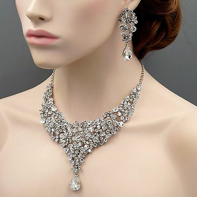 Rhodium Plated Flower Crystal Necklace Earrings Bridal Wedding Jewelry Set 09796