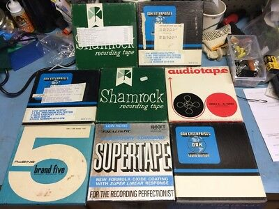 """Lot  8 Reel to reel tapes 1200' or 1800' 1/4"""" 7"""" with boxes"""