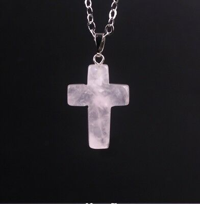 "Rose Quartz Natural Gem Stone Cross  Pendant Necklace 925 Silver Plated 18"" N74"