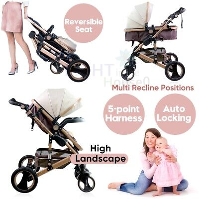 Baby Stroller Pram&Bassinet 8 in 1 Newborn Baby Infant Foldable Pushchair Travel