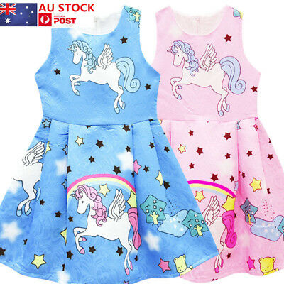 AU Toddler Kids Girls Unicorn Flower Dress Floral Party Summer Princess Sundress