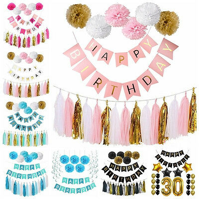 Happy Birthday Bunting Paper Banner Hanging Garland String Flag Party Decoration