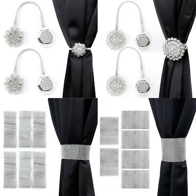 2-4 Window Curtain Tieback Drape Crystal Diamond Rhinestone Curtain Tie Backs