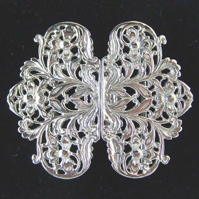 Hallmarked Silver Nurse Buckle.  Brand New Silver Buckle Leaf & Flower Design