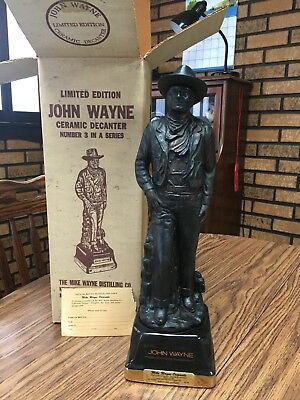 "Vintage John Wayne ""Bronze Finish"" Limited Edition Whiskey Ceramic Decanter"