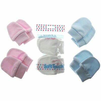 2 Pair Baby Scratch Mittens Mitts Pink Blue White Newborn 100% Cotton Soft Touch