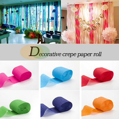 3/6pcs Crepe Paper Rolls - Streamer Decoration Bunting 10 metres -18 Colour