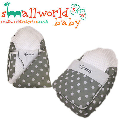 Personalised Boys Girls Grey Polka Dot Pre Filled Baby Bean Bag With Cover