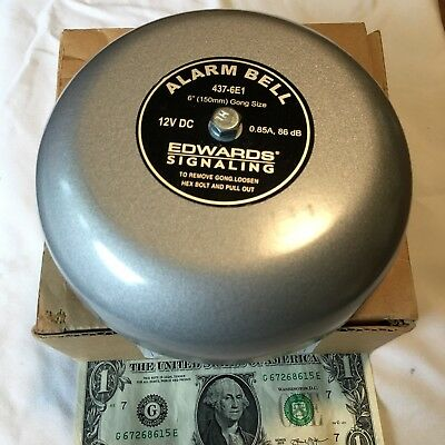 """New Edwards Alarm Bell  437-6E1    12 Volt DC. 6"""". for Fire Alarm or other use"""