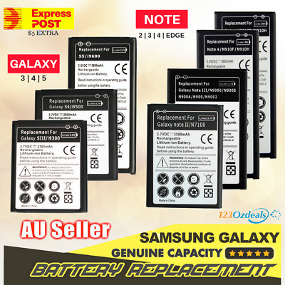 Battery Replacement for Samsung Galaxy Note 2 3 4 Edge S5 Genuine Capacity Li-on