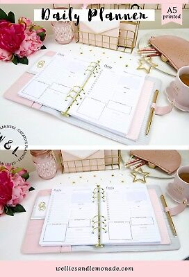 Daily Planner Inserts Day Organiser A5 Planner Refill Filofax Inserts