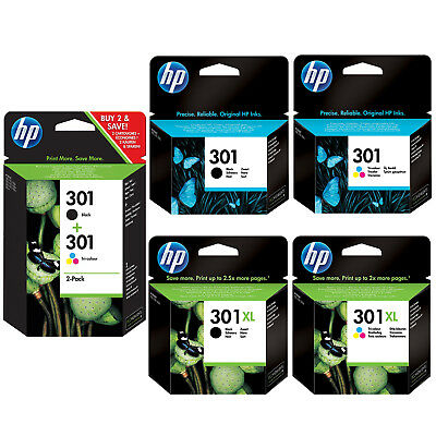 Genuine HP 301 Combo / 301XL Black and Colour Ink Cartridges for Deskjet 2450