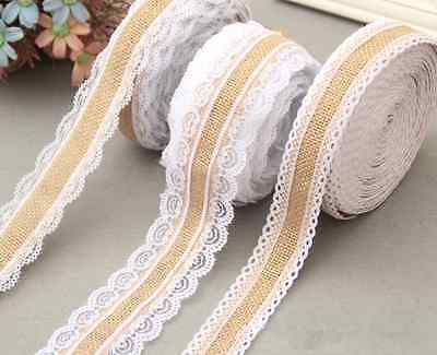 2M Jute Burlap Christmas wedding Decor Natural Jute Both sides lace Ribbon