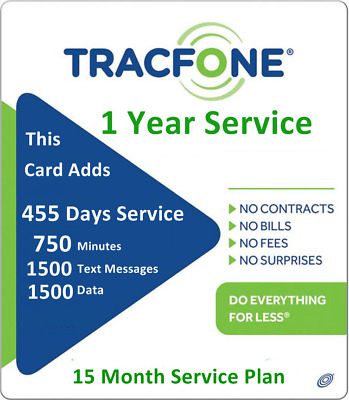 TracFone 1+ Year Service Plan 455 days 740 Minutes / 1500 Text / 1700 Data