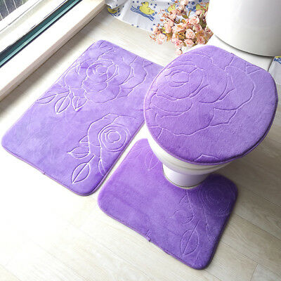 Microfibre Bath Mat Set Non Slip Rug Bathmat Toilet Shower Bathroom Mats Cover