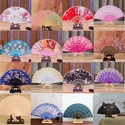 Chinese Style Flower Silk Bamboo Folding Hand Held Dance Fan Party Wedding Lot