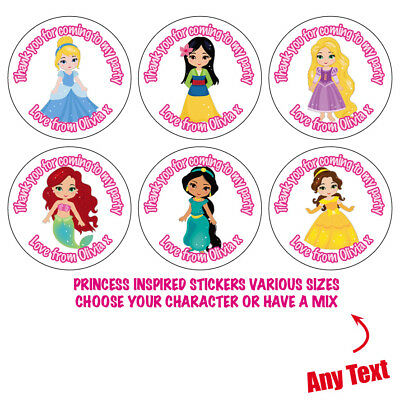 35 x Personalised Princess Belle Birthday Party Bag Stickers Sweet Cone Gift 209