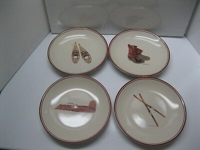 "L.L. Bean Winter Sports Set (4) Appetizer Plates Freeport Maine 6.5""-Rare!"