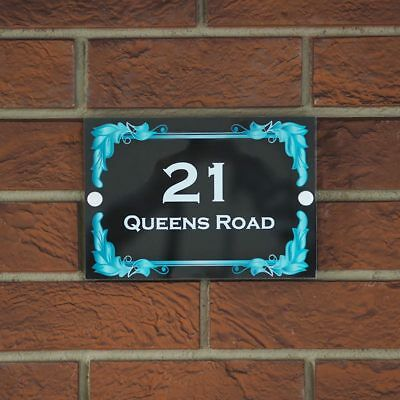 Modern Stylish Frame House Sign Plaque Door Numbers Personalised Name Plate