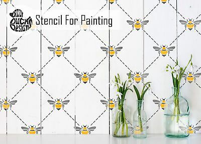 BEE TRELLIS Furniture Wall Stencil for Paint
