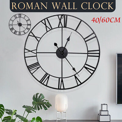 Large Outdoor Wall Clock Roman Round Numerals Giant Open Face Art Metal 40/60cm