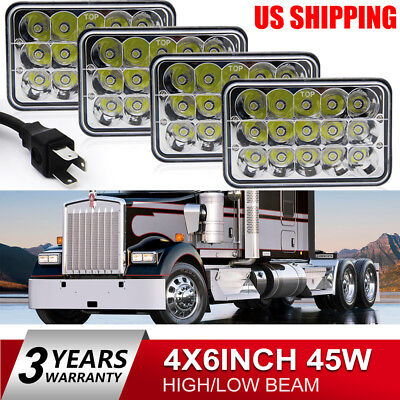 4pcs 4X6inch LED Headlights Hi/Lo Light Bulbs Crystal Clear Sealed Beam Headlamp