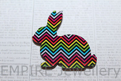 1 x Chevron Rabbit Wooden Laser Cut Cabochon LG 37x36mm Pendant Embellishment