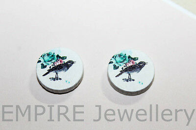 SALE!! 4 x Vintage Bird & Flowers Wooden Laser Cut Flatback 15x15mm Cabochon