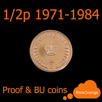 *UK PROOF & BU 1/2p Half Penny Coins 1971-1984 Coin Hunt - select year*