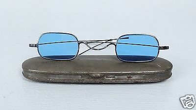 Antique Civil War Era Sun Glasses - Blue Glass Spectacles W Signed Case - VR