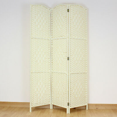 Light Cream 3 Panel Solid Weave Wicker Room Divider Hand Made Privacy Screen