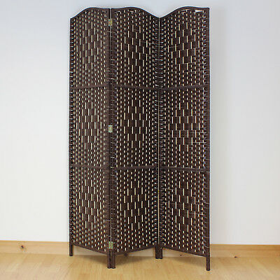 Dark Brown 3 Panel Solid Weave Wicker Room Divider Hand Made Privacy Screen