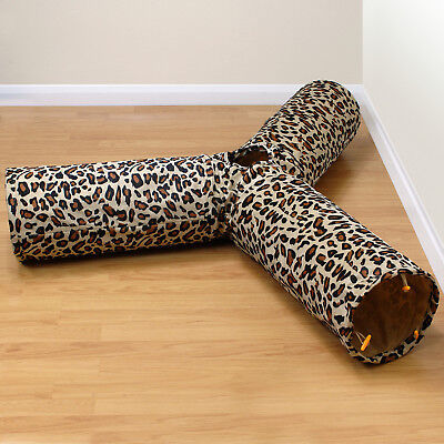 Leopard Print 3 Way/Y Shape Cat/Kitten Play Tunnel Crinkle Activity/Play Centre