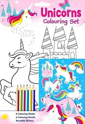 Children's Unicorns Colouring Set Book with Stickers Pencils Colouring Sheets