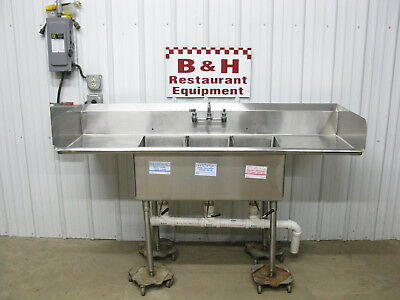 "SPG 72"" x 24"" Stainless Steel Heavy Duty Three Bowl 3 Compartment Sink 6' x 2'"