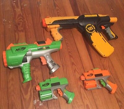 Nerf Dart Tag Lot, 1G Quick 16 Blaster Gun, 10 Shot Blaster, 2 Single Shot Guns