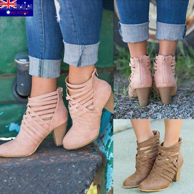 High Heel Women Ankle Boots Ladies Leather PU Boots Sexy Solid Casual Block Boot
