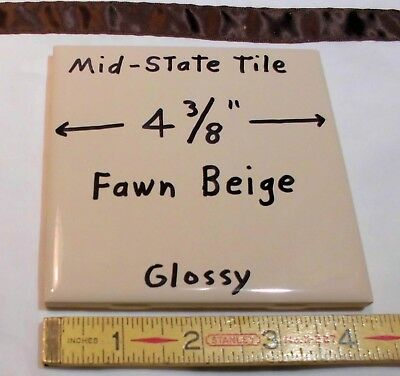 """1 Tile *Fawn Beige* Glossy Ceramic Tiles by Mid-State """"NOS"""" 4-3/8""""  Peachy Tan"""