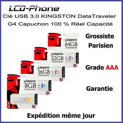 Clé USB 3.0 KINGSTON 8/16/32/64 Go Data Traveler G4 Capuchon 100℅ Réel Capacité