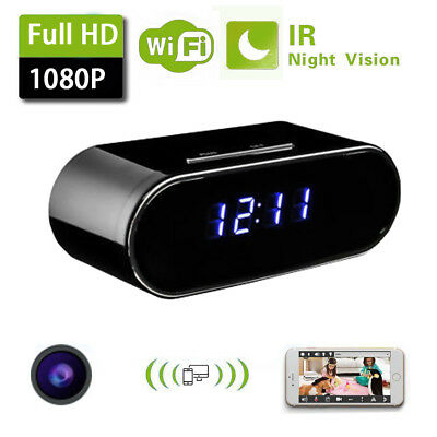 1080P Wifi IP Spy Hidden Security Camera Wireless Motion Alarm Clock IR WebCam