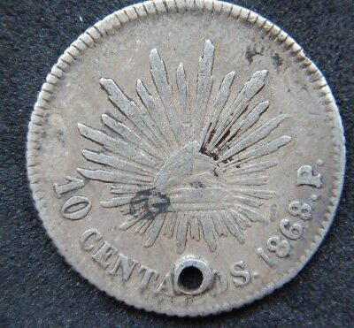 Mexico RARE 10 Centavos 1868/7 Pi,CAP AND RAYS  KM#402.1, Holed Coin XF+