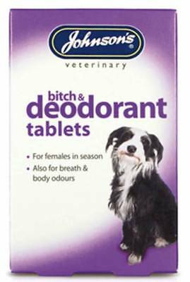 Johnsons Bitch & Deodorant Breath Odour Tablets for Dogs in Season JVP 40 Pack