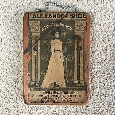 Vintage Early 1900s Alexander Shoe Catalog Ad w/ Woman - Wood Mount - VERY RARE!