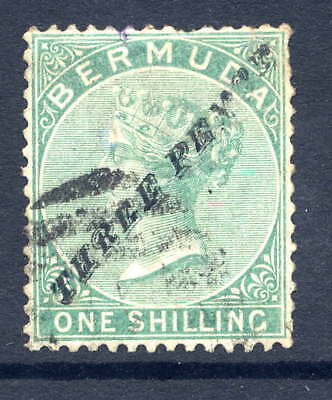 Bermuda 1874 3D On 1/- Green Used With Duplex Cancel. Stanley Gibbons Number 13.