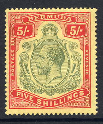 Bermuda 1918-22 Kgv Keyplate 5/- With Unlisted Variety Fresh Mounted Mint Sg 53