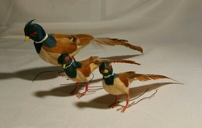 3 Vintage Feather Pheasant Bird Family Christmas Tree Ornaments Wire Feet