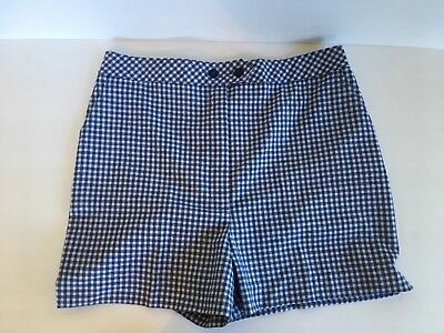 Vtg Womens Catalina Shorts Blue And White Gingham Size 14 Pin-Up Rockabilly USA