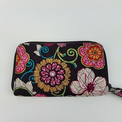 VERA BRADLEY Mod Floral Pink Zip Around Wallet Wristlet Organizer Retired Print