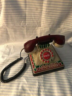 Coca Cola Stained Glass Look Light Up Push Button Telephone  AC Adapter & Jack