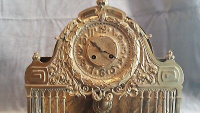 1850-1870 French UNUSUAL BRONZE AND MARBLE MANTEL CLOCK . SECOND EMPIRE.